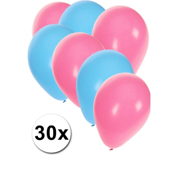 Lichtblauwe en lichtroze feestballonnen 30x Fun Feest party gadgets Feestartikelen diversen