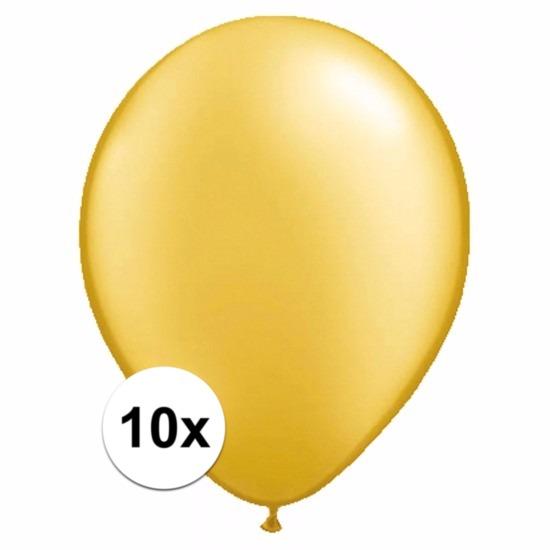 Shoppartners Metallic gouden ballonnetjes 10 stuks Feestartikelen diversen