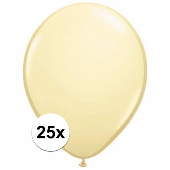 Feestartikelen diversen Metallic ivoren ballonnetjes 25 stuks