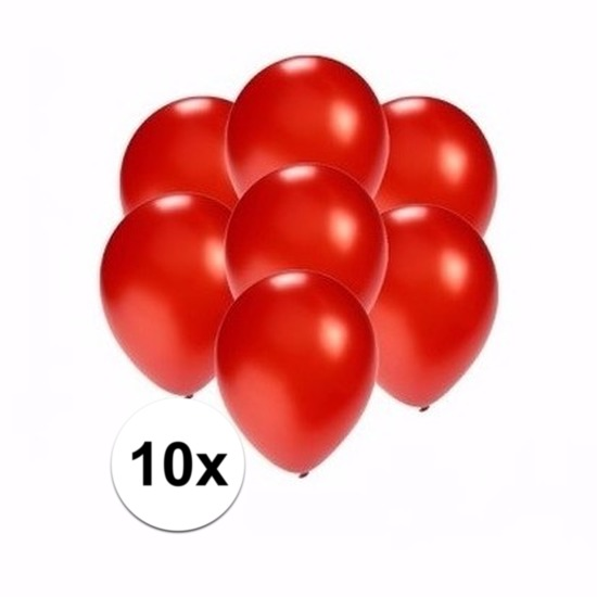Mini metallic rode ballonnetjes 10 stuks Shoppartners Feestartikelen diversen