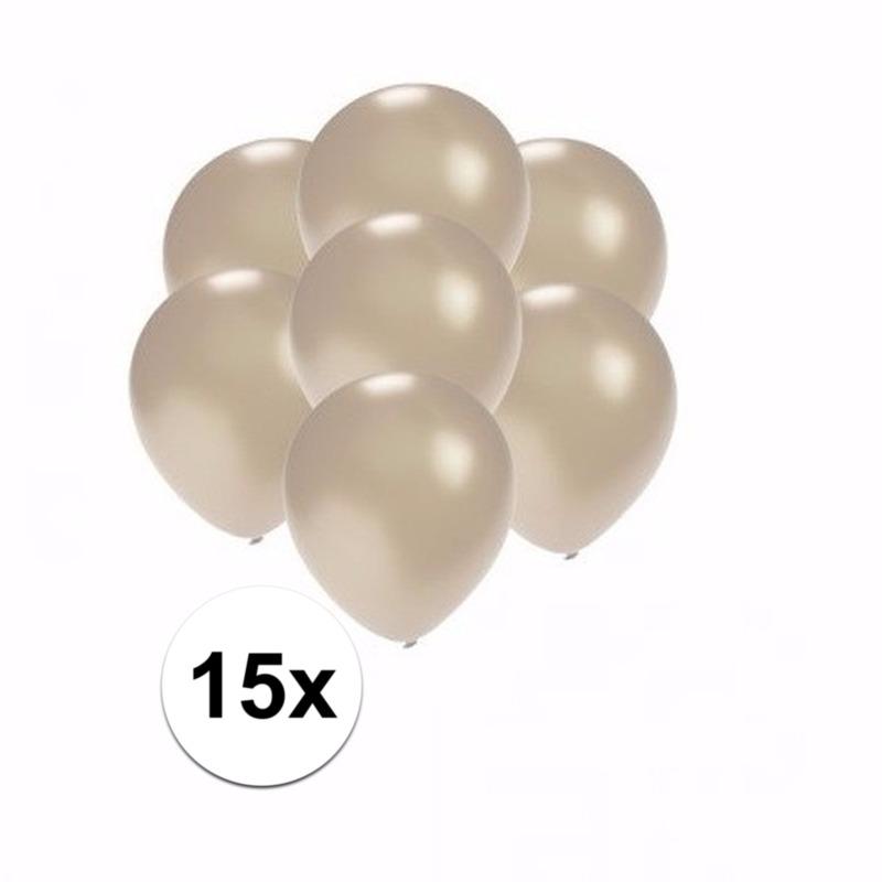 Mini metallic zilveren ballonnetjes 15 stuks Shoppartners Premier