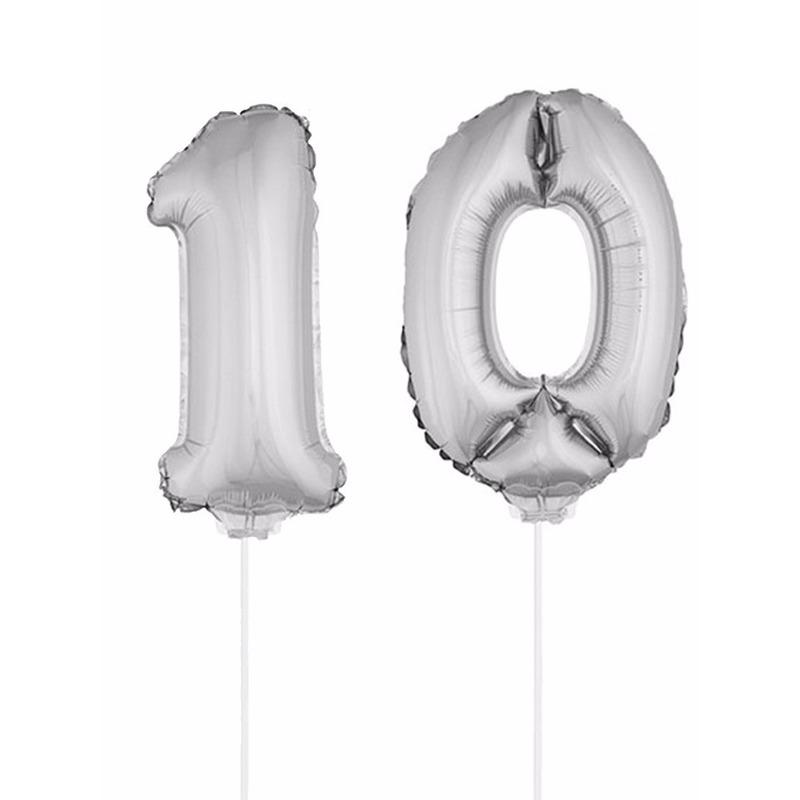 Leeftijd feestartikelen Bierfeest artikelen Opblaas cijfer 10 folie ballon 41 cm