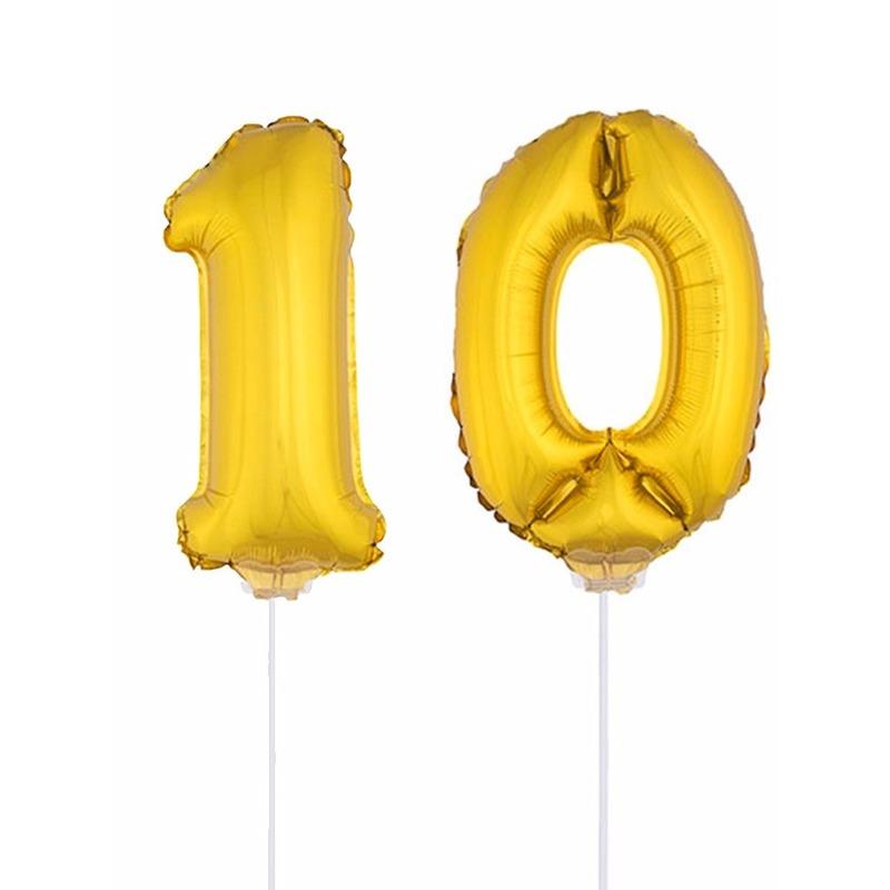 Opblaas cijfer 10 folie ballon 41 cm Bierfeest artikelen goedkoop online kopen