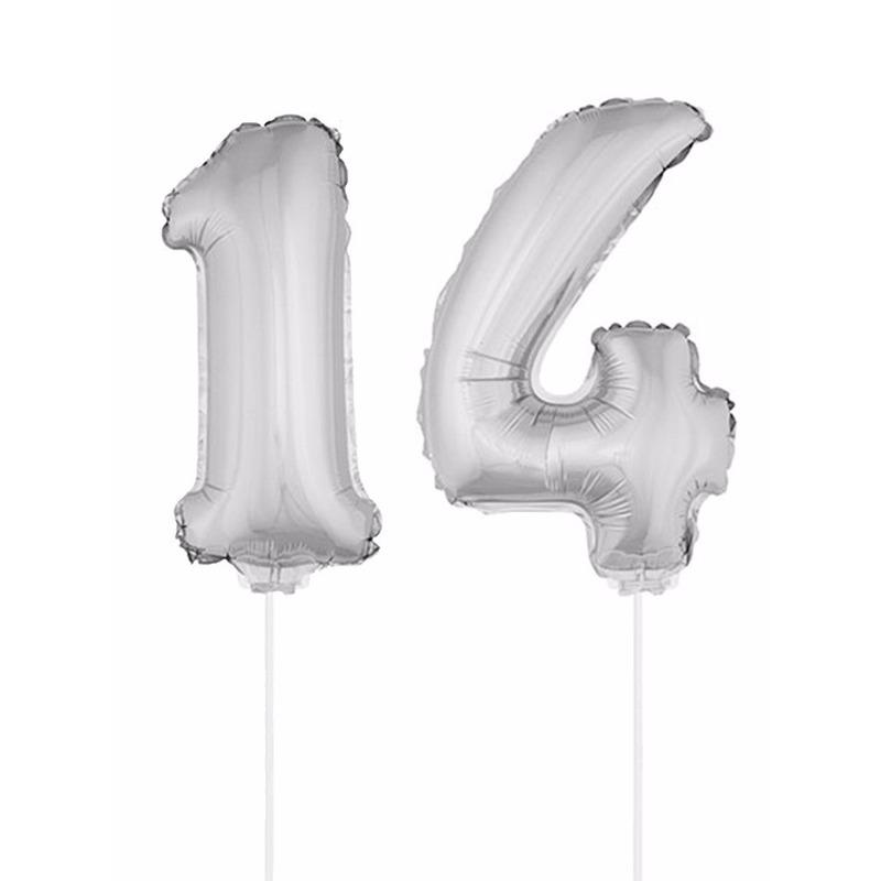 Leeftijd feestartikelen Bierfeest artikelen Opblaas cijfer 14 folie ballon 41 cm
