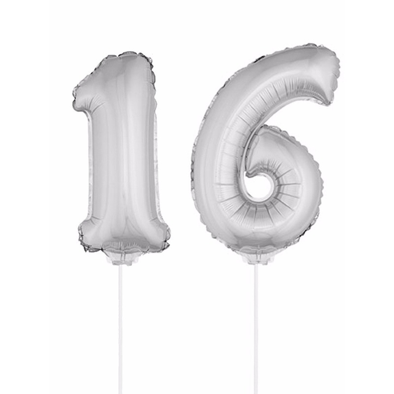 Opblaas cijfer 16 folie ballon 41 cm Bierfeest artikelen Hoge kwaliteit