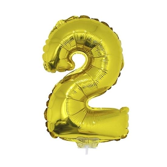 Opblaas cijfer 2 folie ballon goud 41 cm Bierfeest artikelen Feestartikelen diversen