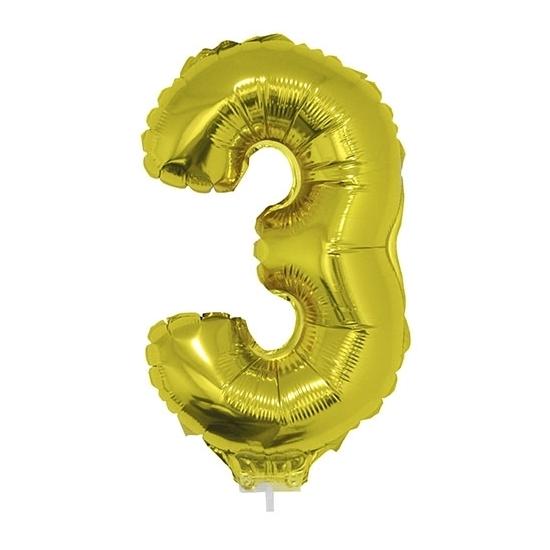 Feestartikelen diversen Bierfeest artikelen Opblaas cijfer 3 folie ballon goud 41 cm