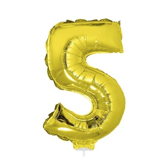 Feestartikelen diversen Bierfeest artikelen Opblaas cijfer 5 folie ballon goud 41 cm