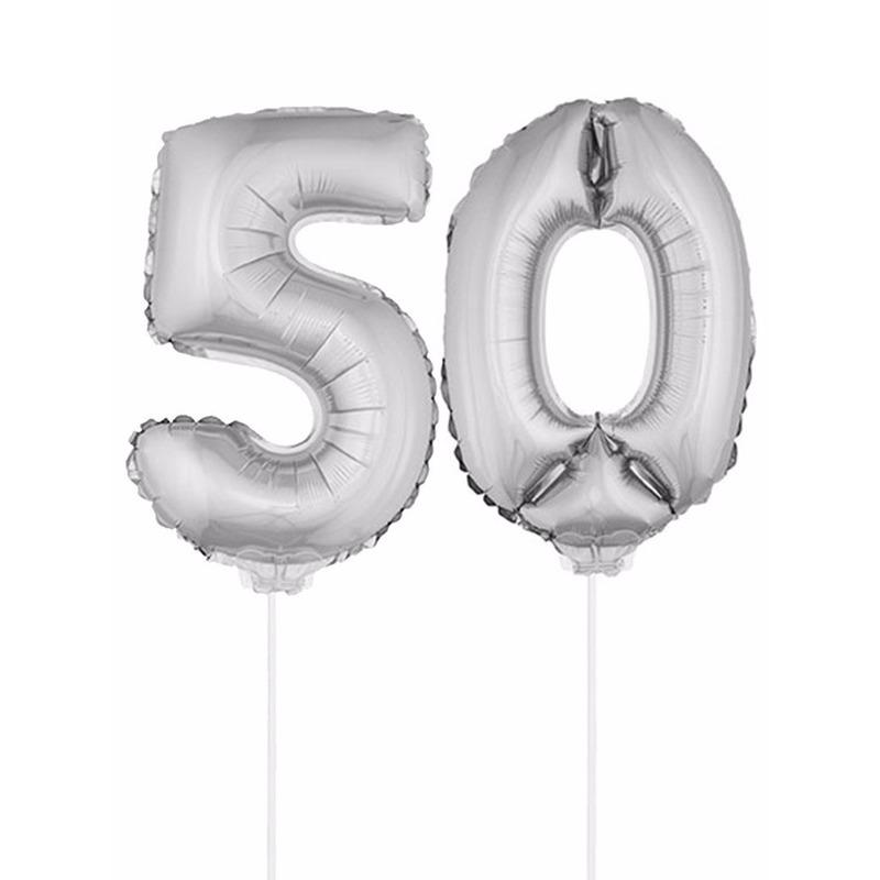 Opblaas cijfer 50 folie ballon 41 cm Bierfeest artikelen Leeftijd feestartikelen
