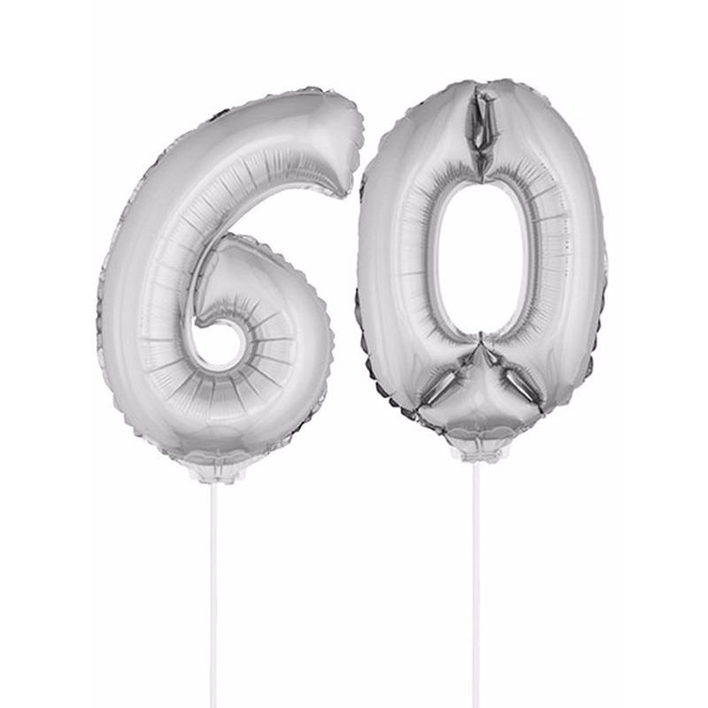 Leeftijd feestartikelen Bierfeest artikelen Opblaas cijfer 60 folie ballon 41 cm