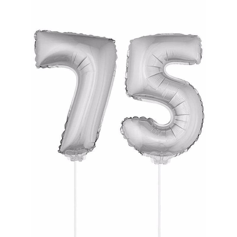 Opblaas cijfer 75 folie ballon 41 cm Bierfeest artikelen Goedkoop