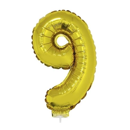 Opblaas cijfer 9 folie ballon goud 41 cm Bierfeest artikelen Feestartikelen diversen