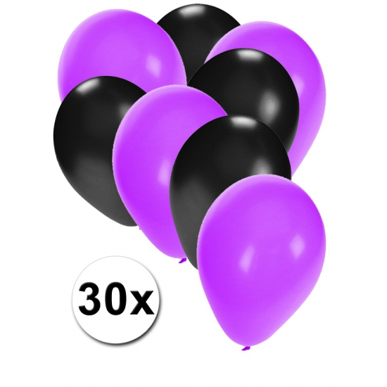 Paarse en zwarte feestballonnen 30x