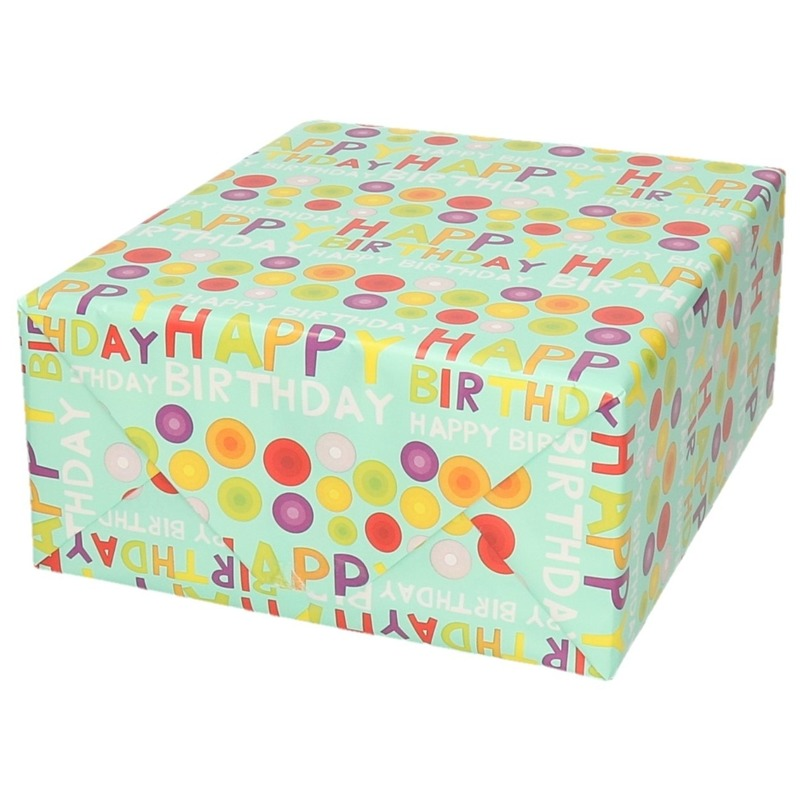 Rol kadopapier happy birthday mintgroen 70 x 200 cm