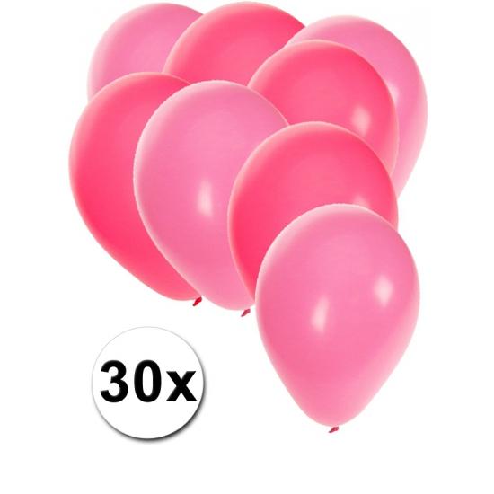 Fun Feest party gadgets Roze en lichtroze feestballonnen 30x Feestartikelen diversen