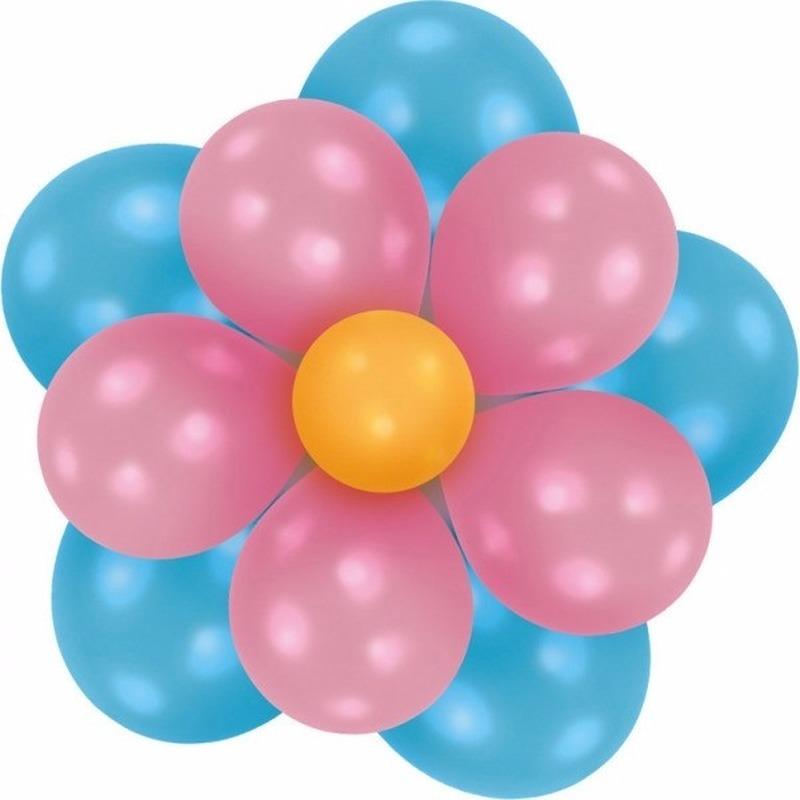 Feestartikelen diversen Geen Setje bloem ballonnen blauw roze
