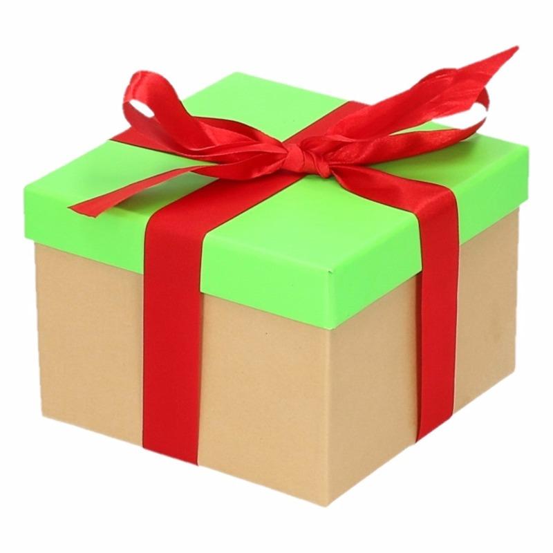Sinterklaas pakje groen met rode strik 15 cm
