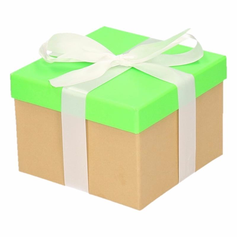 Sinterklaas pakje groen met witte strik 15 cm