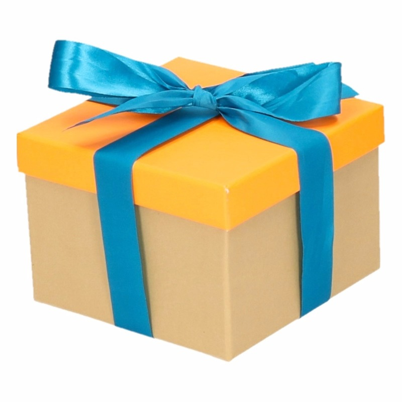 Sinterklaas pakje oranje met blauwe strik 15 cm