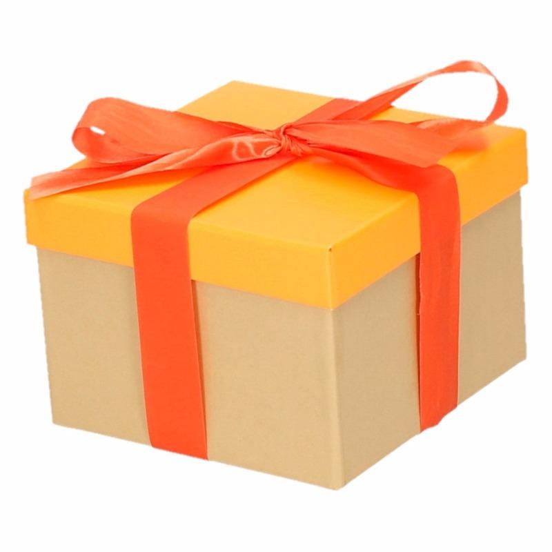 Sinterklaas pakje oranje met oranje strik 15 cm