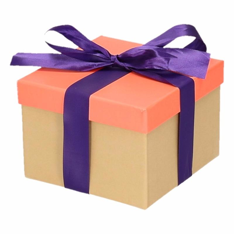 Sinterklaas pakje zalmroze met paarse strik 15 cm