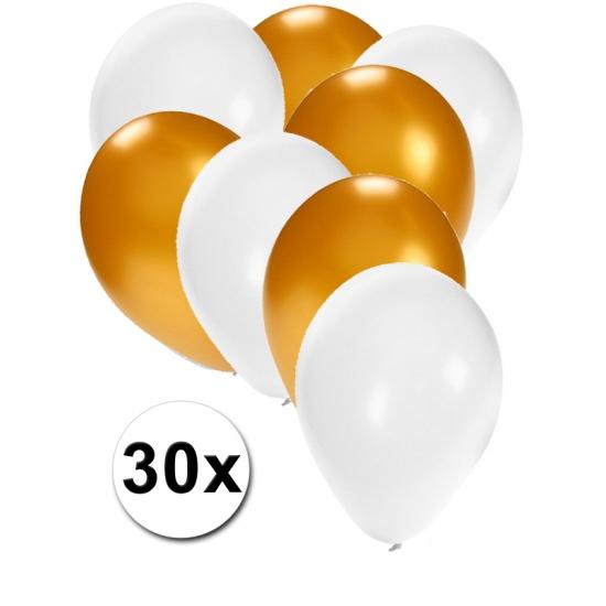 Wit en goude feestballonnen 30x