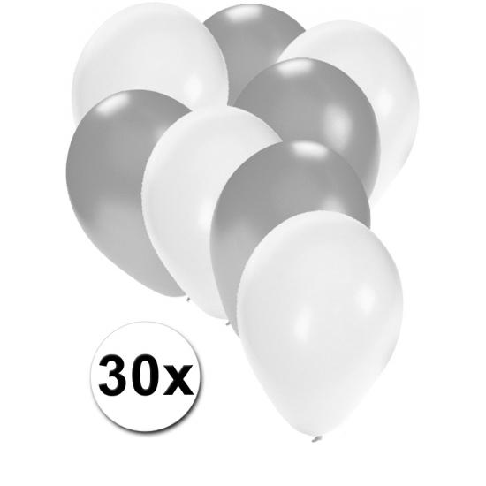 Wit en zilvere feestballonnen 30x