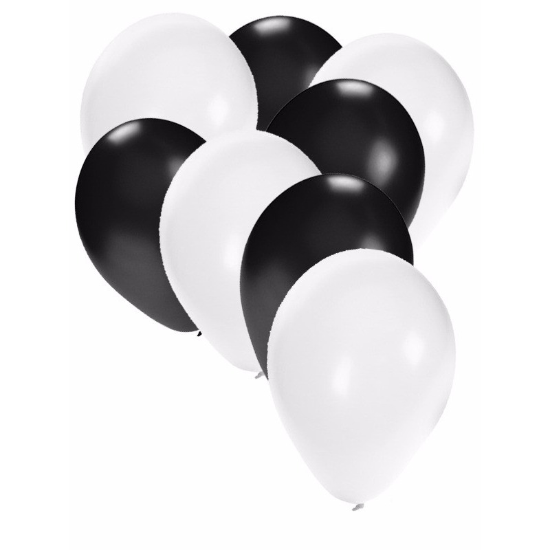 Wit en zwarte feestballonnen 30x Fun Feest party gadgets Feestartikelen diversen