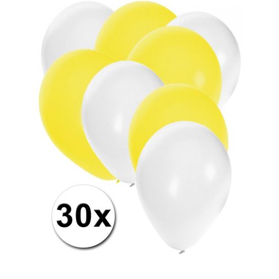 Witte en gele feestballonnen 30x