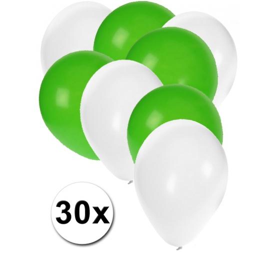 Witte en groene feestballonnen 30x