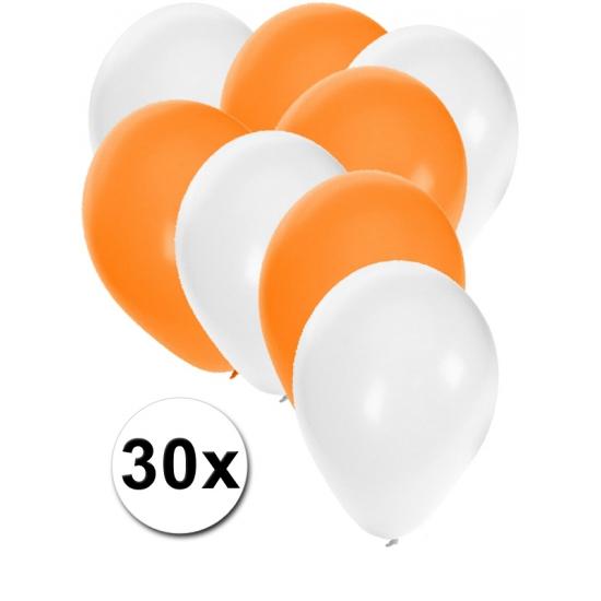 Witte en oranje feestballonnen 30x