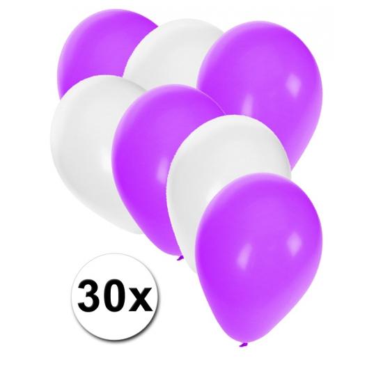 Witte en paarse feestballonnen 30x