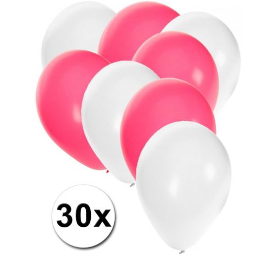 Witte en roze feestballonnen 30x