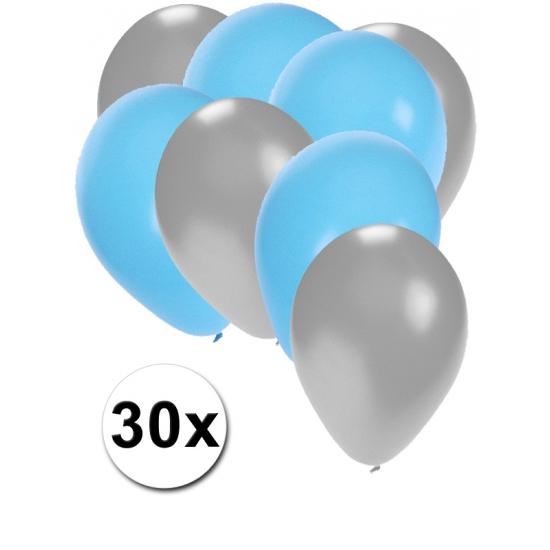 Zilveren en lichtblauwe feestballonnen 30x