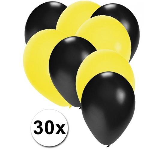 Zwarte en gele feestballonnen 30x
