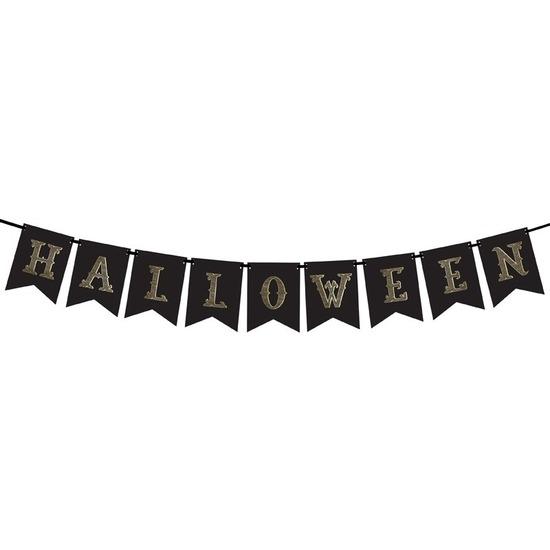 Zwarte Halloween DIY banner vlaggenlijn-slinger 20 x 175 cm