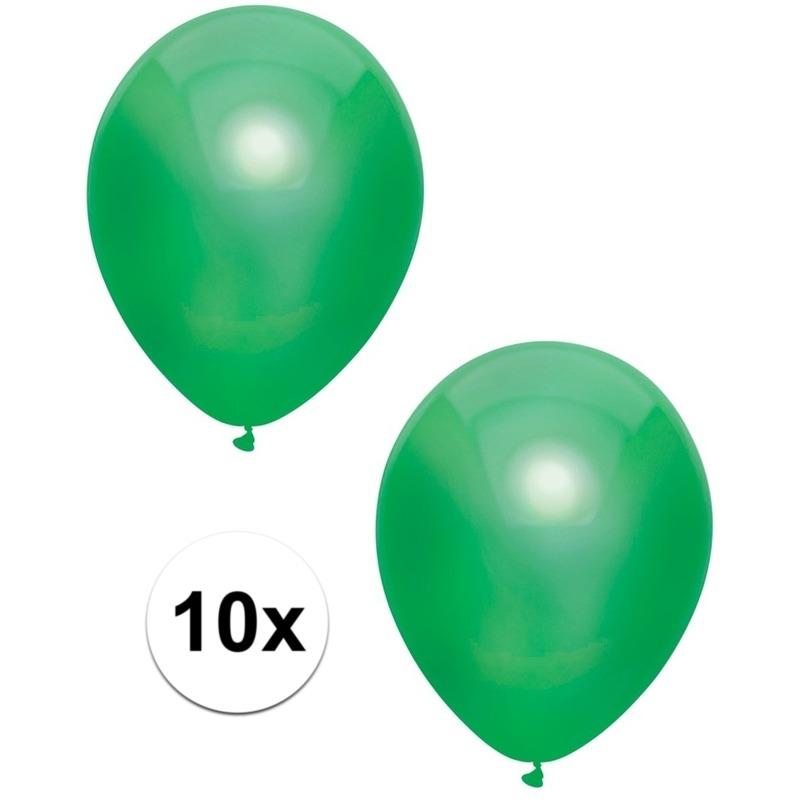 Merkloos 10x Donkergroene metallic ballonnen 30 cm online kopen