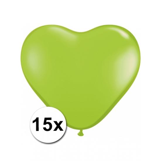 Shoppartners 15 Limegroene harten ballonnen 15 cm online kopen