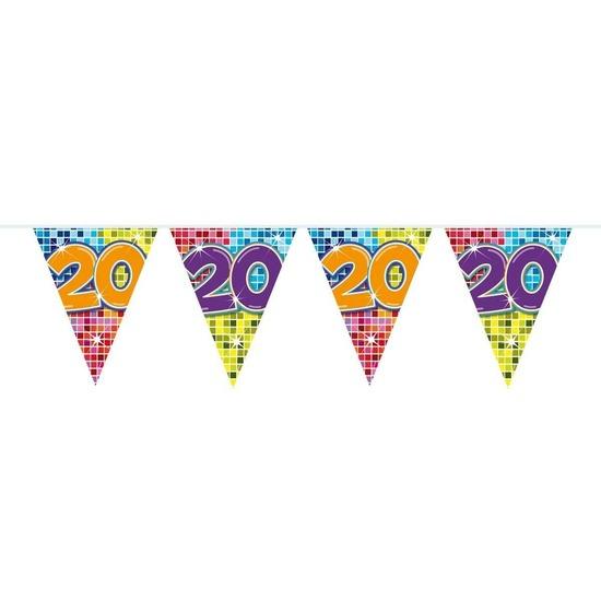 Merkloos 1x Mini vlaggenlijn / slinger verjaardag versiering 20 jaar online kopen