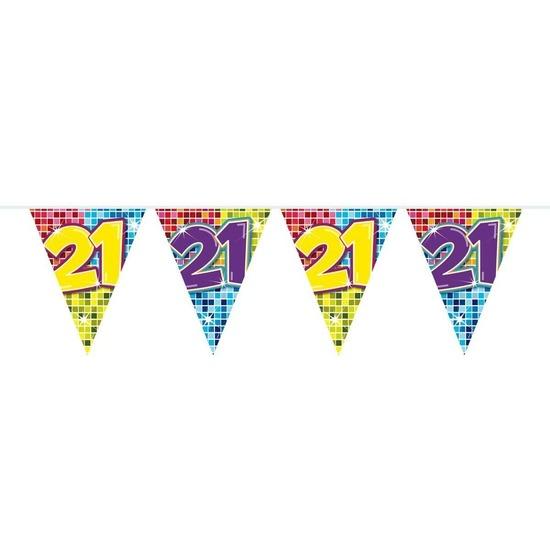 Merkloos 1x Mini vlaggenlijn / slinger verjaardag versiering 21 jaar online kopen
