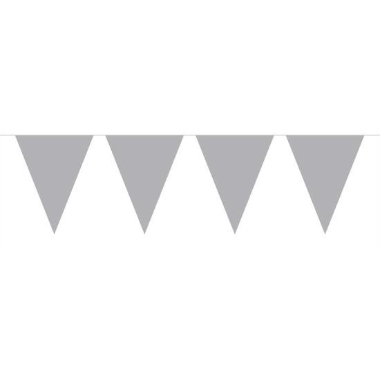Merkloos 1x Mini vlaggenlijn / slinger zilver 300 cm online kopen