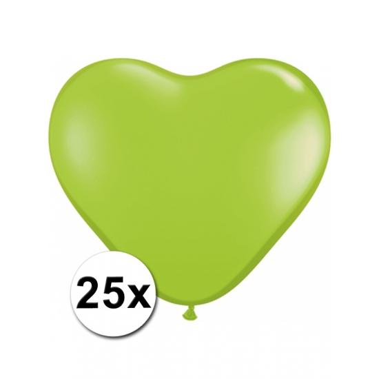 Shoppartners 25 Limegroene harten ballonnen 15 cm online kopen