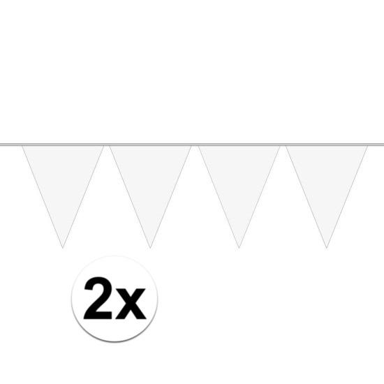 Merkloos 2x Mini vlaggenlijn / slinger versiering wit online kopen