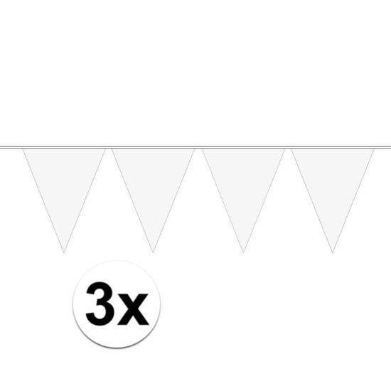 Merkloos 3x Mini vlaggenlijn / slinger versiering wit online kopen