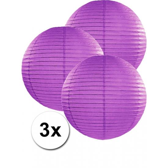 Merkloos bol lampionnen paars 3 stuks 35 cm online kopen