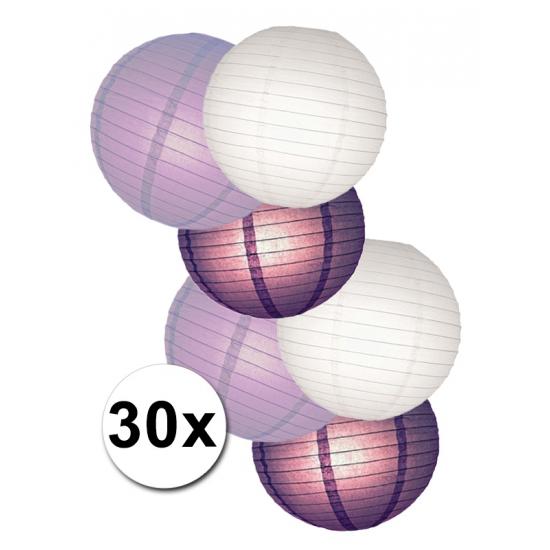 Shoppartners Feestpakket met witte en paarse lampionnen online kopen