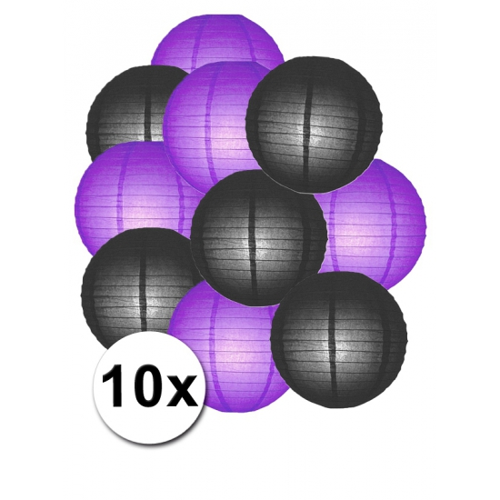 Shoppartners Party lampionnen paars en zwart 10x online kopen