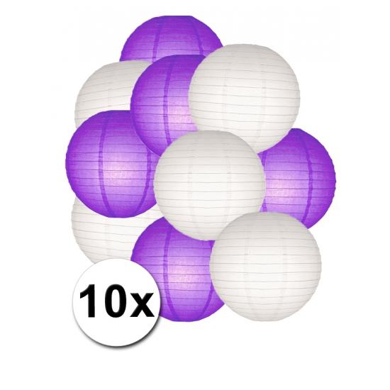 Shoppartners Party lampionnen wit en paars 10x online kopen