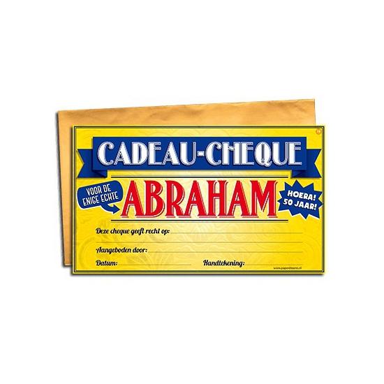 Voor de Abraham cadeau cheque Cadeau /feestartikelen-algemeen/kado-cheques